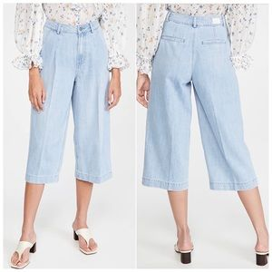 Paige Clarice High-Rise Pintucked Culotte Jeans